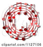 Cartoon Of A Ring Or Wreath Of Red Music Notes With Shadows Royalty Free Clipart by djart