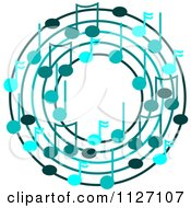 Cartoon Of A Ring Or Wreath Of Blue Music Notes Royalty Free Vector Clipart by djart