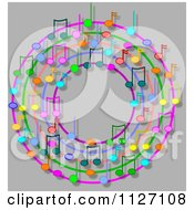 Cartoon Of A Ring Or Wreath Of Colorful Music Notes With Shadows On Gray Royalty Free Clipart by djart