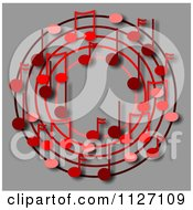 Cartoon Of A Ring Or Wreath Of Red Music Notes On Gray Royalty Free Clipart by djart