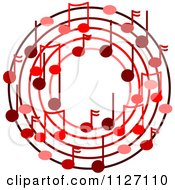 Cartoon Of A Ring Or Wreath Of Red Music Notes Royalty Free Vector Clipart by djart