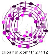 Cartoon Of A Ring Or Wreath Of Purple Music Notes With Shadows Royalty Free Clipart by djart