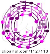 Cartoon Of A Ring Or Wreath Of Purple Music Notes Royalty Free Vector Clipart by djart