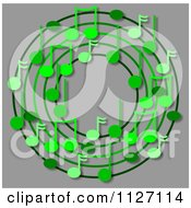 Cartoon Of A Ring Or Wreath Of Green Music Notes With Shadows Over Gray Royalty Free Clipart by djart