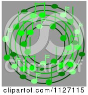 Cartoon Of A Ring Or Wreath Of Green Music Notes Over Gray Royalty Free Clipart by djart