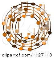 Cartoon Of A Ring Or Wreath Of Brown Music Notes With Shadows Royalty Free Clipart by djart