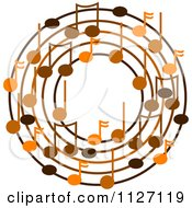 Cartoon Of A Ring Or Wreath Of Brown Music Notes Royalty Free Vector Clipart by djart