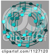 Cartoon Of A Ring Or Wreath Of Blue Music Notes Over Gray Royalty Free Clipart by djart