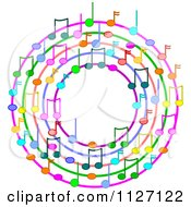 Cartoon Of A Ring Or Wreath Of Colorful Music Notes Royalty Free Vector Clipart by Dennis Cox