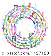 Cartoon Of A Ring Or Wreath Of Colorful Music Notes With Shadows Royalty Free Clipart by djart