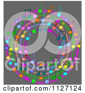 Cartoon Of A Ring Or Wreath Of Colorful Music Notes On Gray Royalty Free Vector Clipart by djart