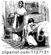 Clipart Of A Retro Vintage Black And White Mother Watching Her Daughter Pray Befored Bed Royalty Free Vector Illustration by Prawny Vintage