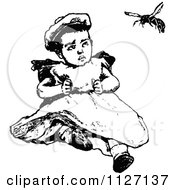 Clipart Of A Retro Vintage Black And White Baby Watching A Bee Royalty Free Vector Illustration by Prawny Vintage