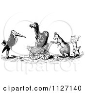 Clipart Of Retro Vintage Black And White Animals With A Carriage Royalty Free Vector Illustration by Prawny Vintage
