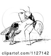 Clipart Of A Retro Vintage Black And White Ant And Fly Royalty Free Vector Illustration by Prawny Vintage