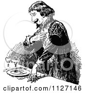 Clipart Of A Retro Vintage Black And White Man Giving A Speech At A Table Royalty Free Vector Illustration