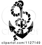 Clipart Of A Retro Vintage Black And White Anchor And Rope Royalty Free Vector Illustration