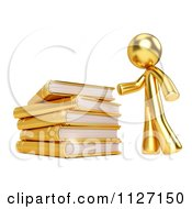 Clipart Of A 3d Gold Man And A Pile Of Books Royalty Free CGI Illustration by Leo Blanchette