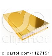 Clipart Of A 3d Golden Book Royalty Free CGI Illustration