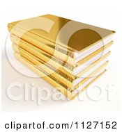 Clipart Of A 3d Pile Of Golden Books With A Light Flare Royalty Free CGI Illustration by Leo Blanchette