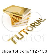 Clipart Of A 3d Pile Of Golden Books And Tutorial Text Royalty Free CGI Illustration