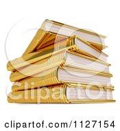 Clipart Of A 3d Pile Of Golden Books Royalty Free CGI Illustration