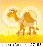 Cartoon Of A Happy Camel In A Desert Royalty Free Clipart
