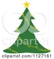 Clipart Of A Christmas Tree With A Glittery Gold Garland Or Lights Royalty Free Vector Illustration by dero