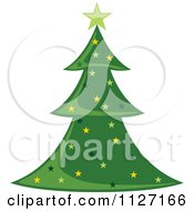 Clipart Of A Starry Christmas Tree Royalty Free Vector Illustration by dero