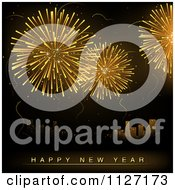 Clipart Of Golden Fireworks Bursting Over A City With Happy New Year Text Royalty Free Vector Illustration