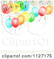 Clipart Of Happy Birthday Balloons With Ribbons And Confetti Royalty Free Vector Illustration