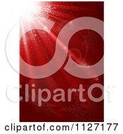Clipart Of A Red Christmas Background With A Burst Of Light And Snowflakes Royalty Free Vector Illustration