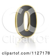 Clipart Of A 3d Gold Rimmed Perforated Metal Number 0 Royalty Free CGI Illustration