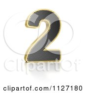 Clipart Of A 3d Gold Rimmed Perforated Metal Number 2 Royalty Free CGI Illustration