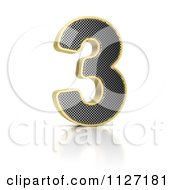 Clipart Of A 3d Gold Rimmed Perforated Metal Number 3 Royalty Free CGI Illustration by stockillustrations
