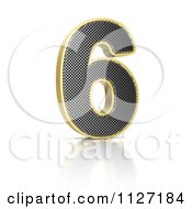 Clipart Of A 3d Gold Rimmed Perforated Metal Number 6 Royalty Free CGI Illustration by stockillustrations