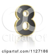 Clipart Of A 3d Gold Rimmed Perforated Metal Number 8 Royalty Free CGI Illustration by stockillustrations