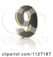 Clipart Of A 3d Gold Rimmed Perforated Metal Number 9 Royalty Free CGI Illustration by stockillustrations