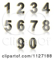 Clipart Of 3d Gold Rimmed Perforated Metal Numbers Royalty Free CGI Illustration