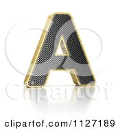 Clipart Of A 3d Gold Rimmed Perforated Metal Letter A Royalty Free CGI Illustration
