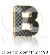 Clipart Of A 3d Gold Rimmed Perforated Metal Letter B Royalty Free CGI Illustration by stockillustrations