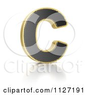 Clipart Of A 3d Gold Rimmed Perforated Metal Letter C Royalty Free CGI Illustration by stockillustrations