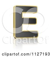 Clipart Of A 3d Gold Rimmed Perforated Metal Letter E Royalty Free CGI Illustration by stockillustrations
