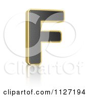 Clipart Of A 3d Gold Rimmed Perforated Metal Letter F Royalty Free CGI Illustration by stockillustrations