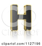 Clipart Of A 3d Gold Rimmed Perforated Metal Letter H Royalty Free CGI Illustration by stockillustrations