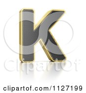 Clipart Of A 3d Gold Rimmed Perforated Metal Letter K Royalty Free CGI Illustration by stockillustrations