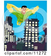 Poster, Art Print Of Super Hero Man To The Rescue Flying Through A City