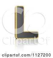 Clipart Of A 3d Gold Rimmed Perforated Metal Letter L Royalty Free CGI Illustration