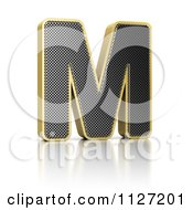 Clipart Of A 3d Gold Rimmed Perforated Metal Letter M Royalty Free CGI Illustration by stockillustrations