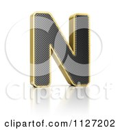 Clipart Of A 3d Gold Rimmed Perforated Metal Letter N Royalty Free CGI Illustration by stockillustrations